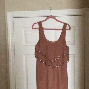Nude/Brown Beaded Scalloped Mini Dress.